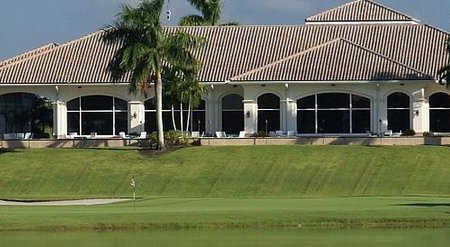 A view of the 18th hole and the clubhouse in background at Abacoa Golf Club