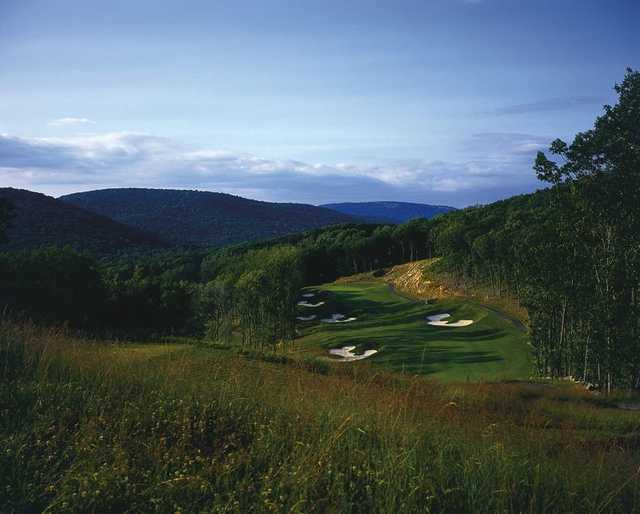 A view of the 11th fairway and green at Patriot Hills Golf Club