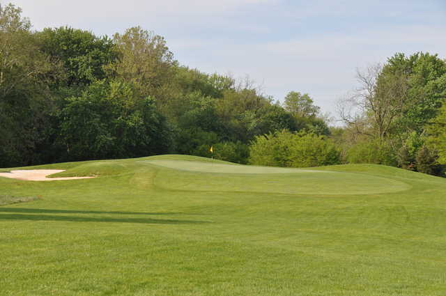 A view of green #7 at Clustered Spires Golf Course