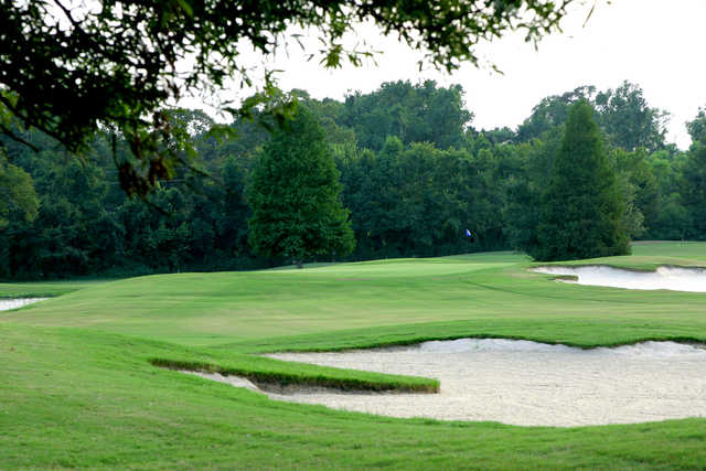 A view of a green protected by bunkers at Santa Maria Golf Club (BREC).