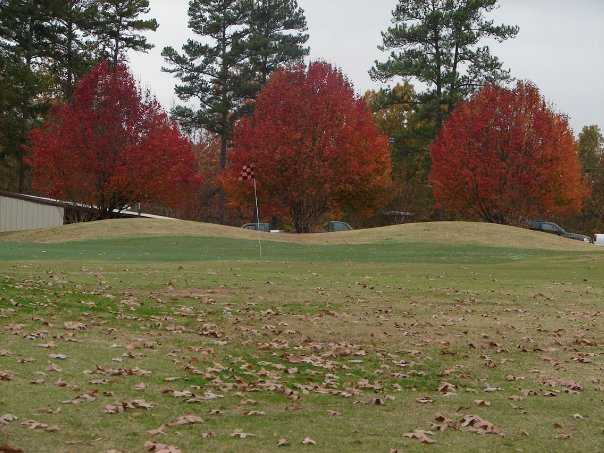 A view of hole #18 with Bradford pears in background at Crooked Hollow Golf Club
