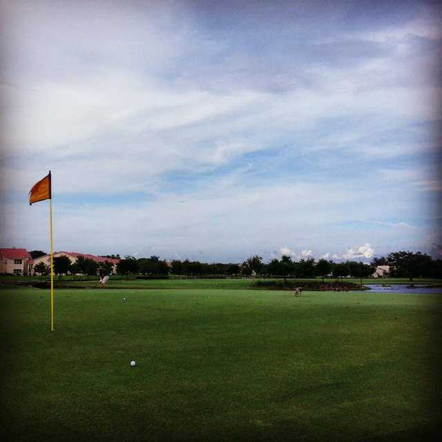 A view of the 17th hole at Lago Mar Country Club