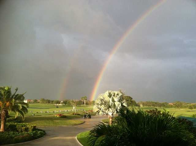 A view of a double rainbow protecting Lago Mar Country Club