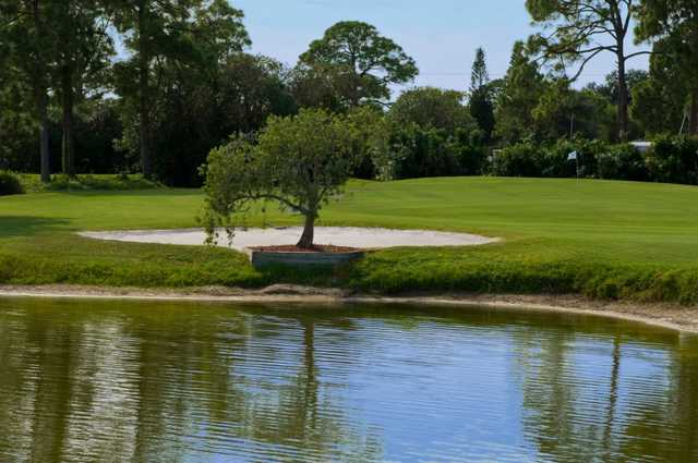 A view over the water of hole #16 at Mainlands Golf Course