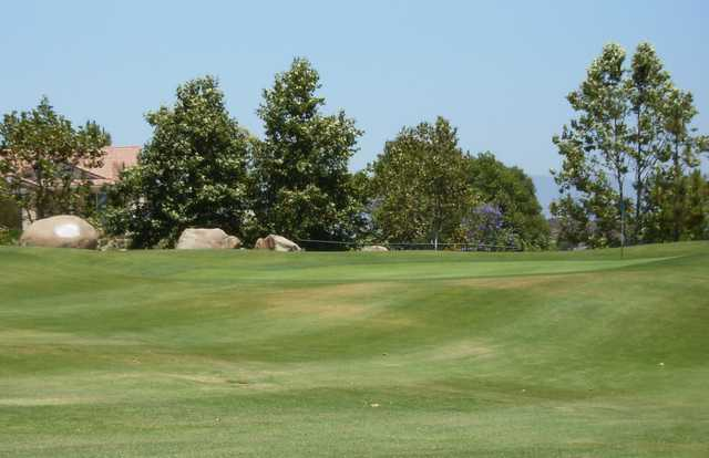 A view of a green at Boulder Oaks Golf Club