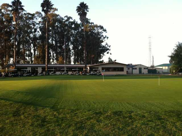 A view of the practice area at Cypress Lakes Golf Course
