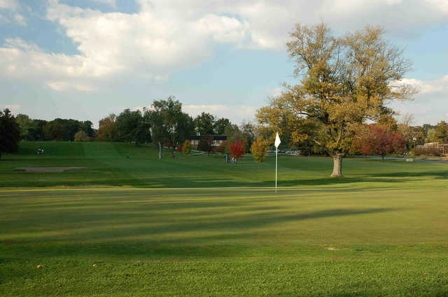 A fall view of a green at West Lafayette Golf & Country Club