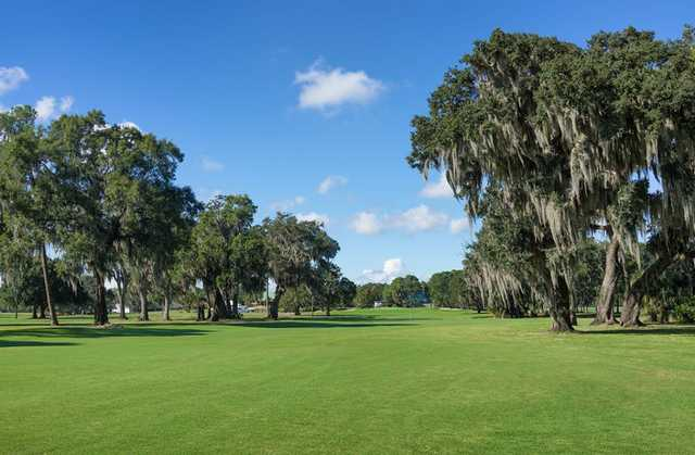 A view of a fairway at Eagles Golf Club