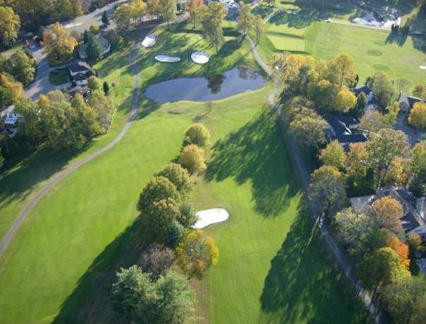 Aerial view from National Golf Club at Tantallon