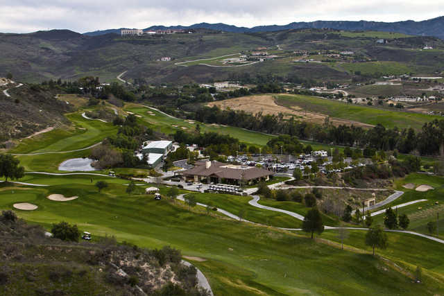 An aerial view of the clubhouse, parking lot and part of the course at Tierra Rejada Golf Club (Oleg Volovik)
