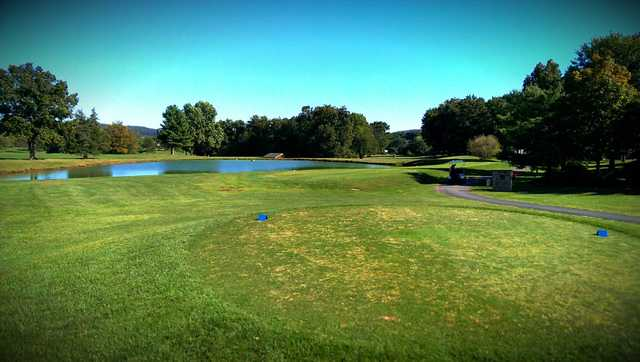 A view from a blue tee at Hawk Valley Golf Club