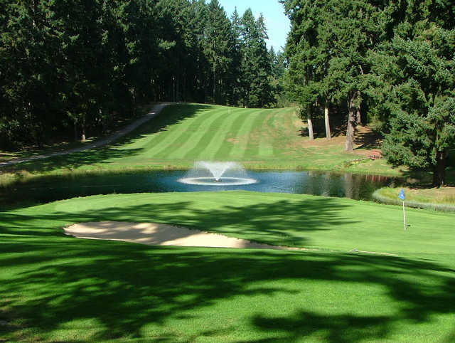 A view of a green with water coming into play at Eagles Pride Golf Course