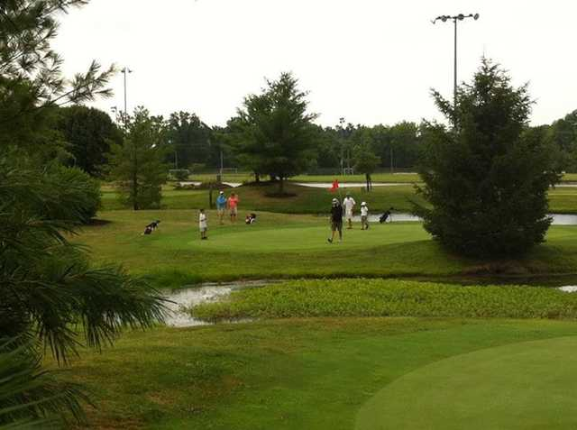 View of a green at Golf Headquarters Family GolfPlex
