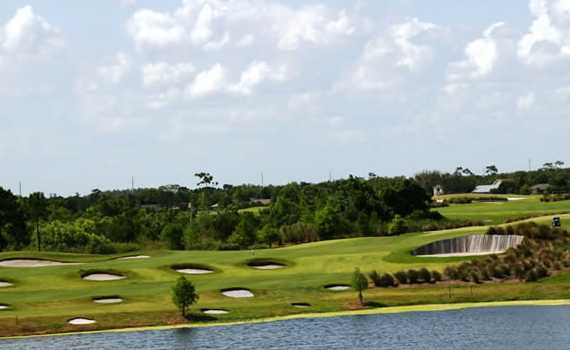 A view over the water from Royal St. Cloud Golf Links