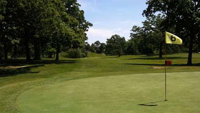 A view of the 6th green at Twin Lakes Country Club