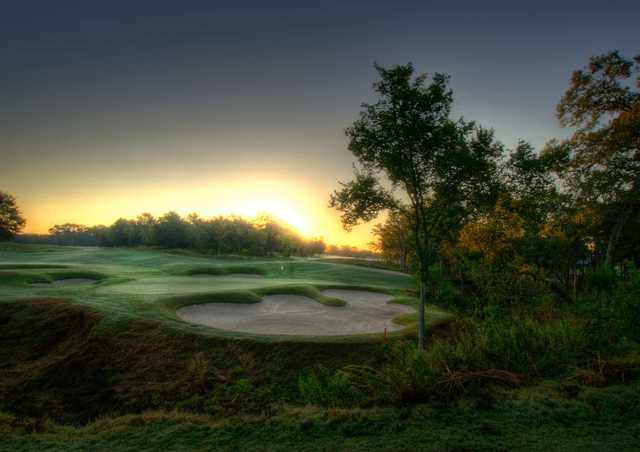 A view of the 18th green at Traditions Club at Texas A&M