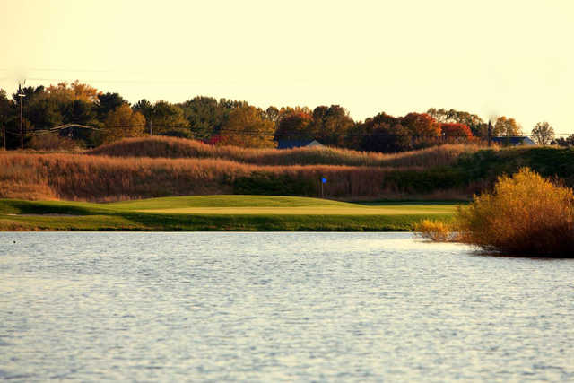 A view of the 17th green with water coming into play at Blue Mash Golf Course