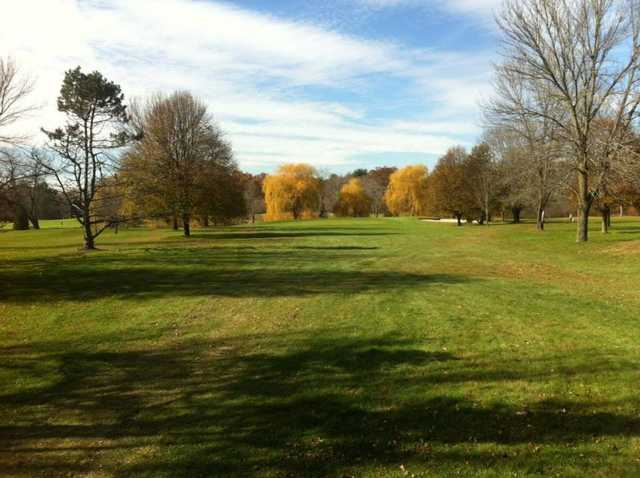 A fall view of a fairway at Westwoods Golf Club