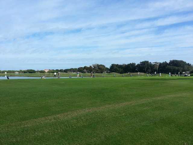A view of the driving range tees at Remington Golf Club