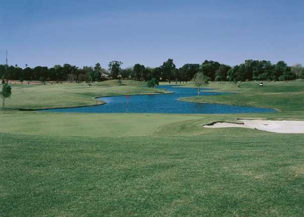 A view of a hole with water coming into play at Birch Hills Golf Course