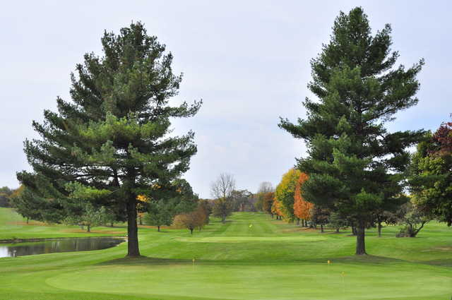 A view of a green and the practice area in foreground at Bonnie View Golf Course