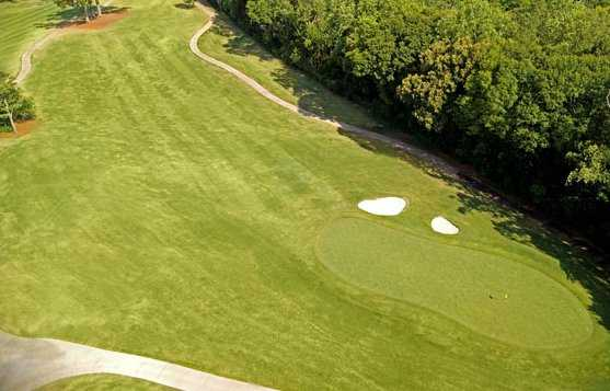 Aerial view of the 18 green at City Club Marietta