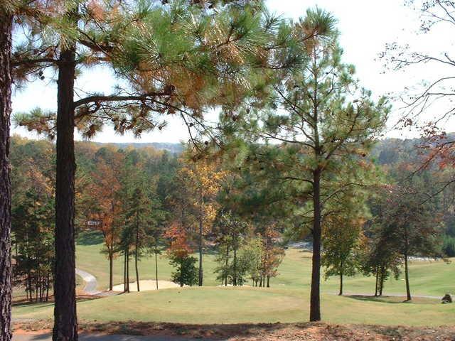 An autumn view of the 17th hole at Sugar Hill Golf Club