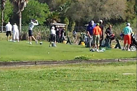 A view of the practice area at Silver Dollar Golf & Trap Club