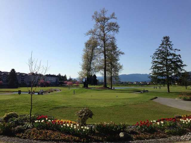 A view of a tee at Meadow Gardens Golf Course