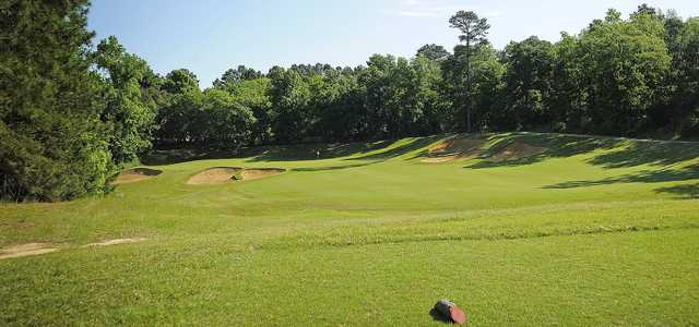 A view from a tee at Pine Dunes Resort and Golf Club