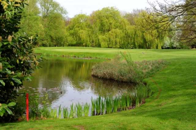 A view over the lake of the 7th approach at Kidderminster Golf Club