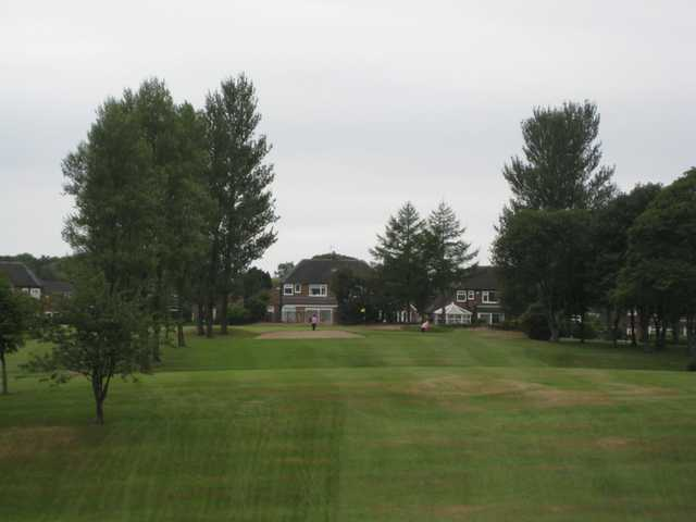 The approach to the 2nd at Harwood Golf Club