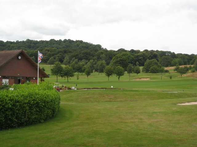 View from the 10th tee, over looking the club house and flag at Bewdley Pines Golf Course