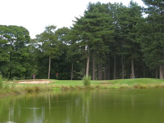 A view of the 7th green accompanied by bunkers and water hazards at Bewdley Pines Golf Club