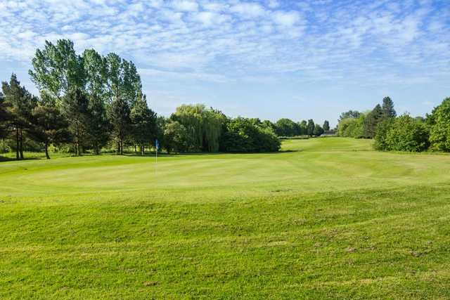 A view down the 15th fairway to the driving range at Cheshunt Park Golf Club
