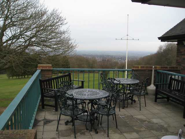 The Clubhouse terrace with stunning views of the surrounding countryside at Wrekin Golf Club