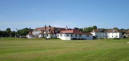 The view of the clubhouse at Cooden Beach Golf Club