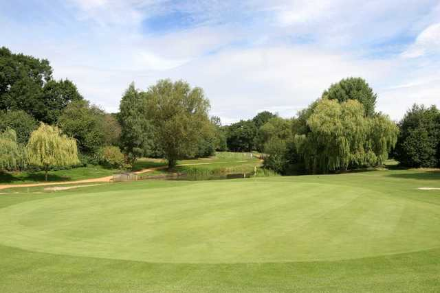 View of the large green on the 7th hole at Downshire Golf Complex