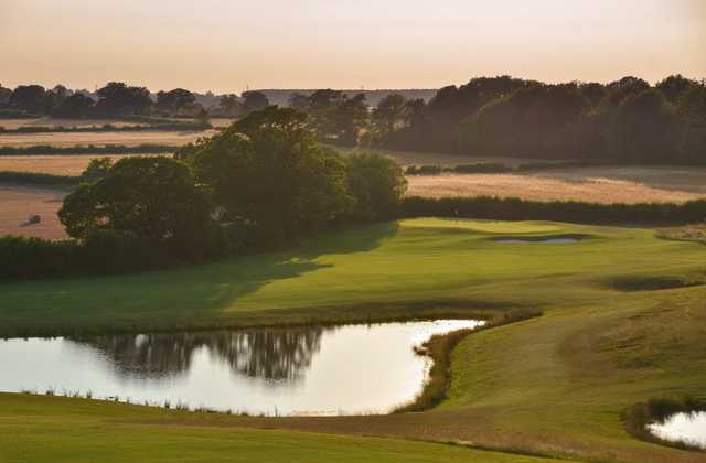 Stunning view looking over the 14th hole and pond at Chippenham Golf Club