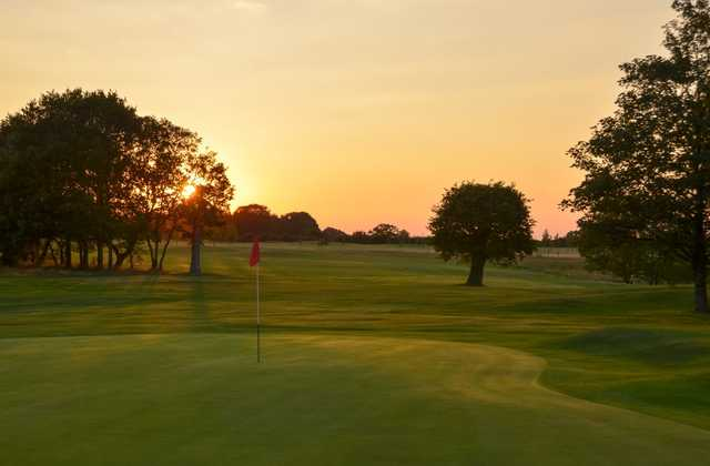The sun setting over the beautiful 9th hole at Chippenham Golf Club