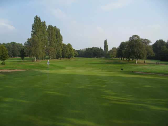 View of the 12th green looking back down the fairway at Walsall Golf Club