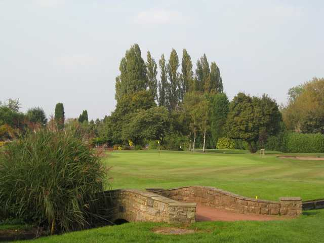 View across the bridge of the 18th hole at Walsall Golf Club