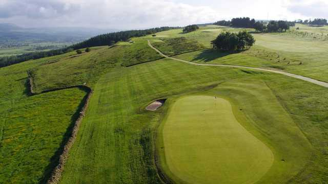Aerial view of the 6th green and fairway at Longridge Golf Club