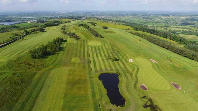 Shot from above the course with lake views at Longridge Golf Club