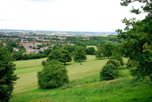 A view down onto a fairway from Lickey Hills Golf Course
