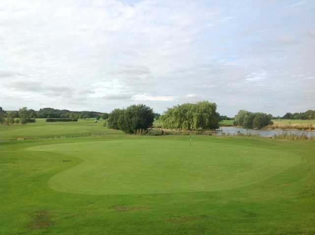 View from behind the well kept 18th green