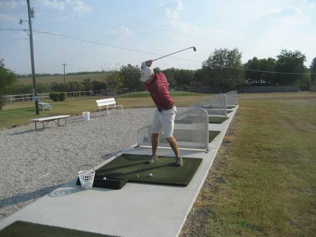 A view of the driving range tees at Birdee's Golf Center