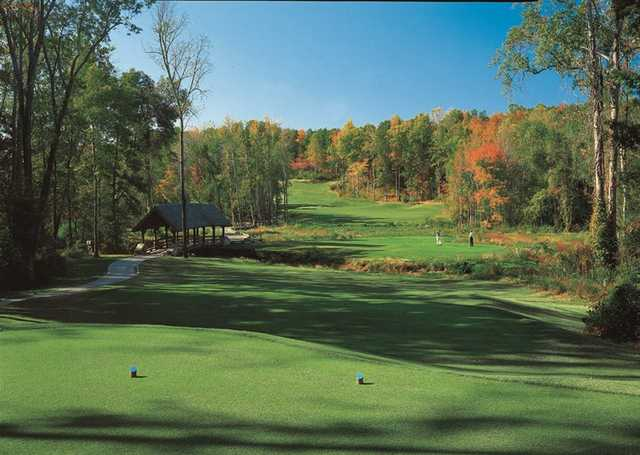 A fall view from a tee at Grandover Resort