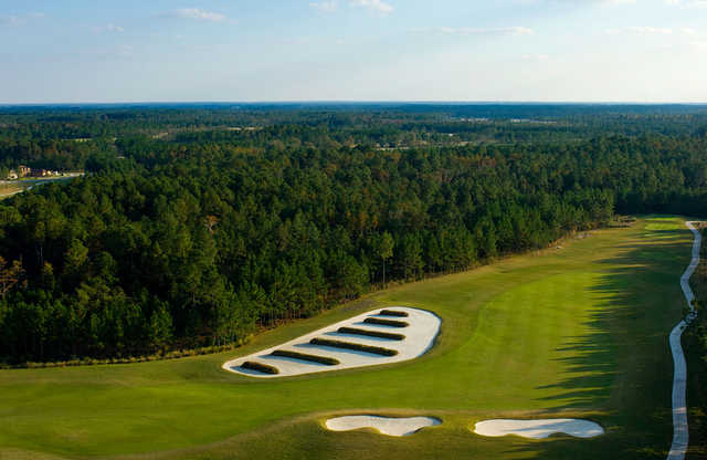 Aerial view of the 17th tees and bunkers at Eagle Landing Golf Club