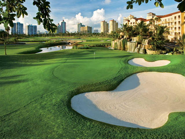 A view of a green protected by bunkers at Turnberry Isle Country Club.